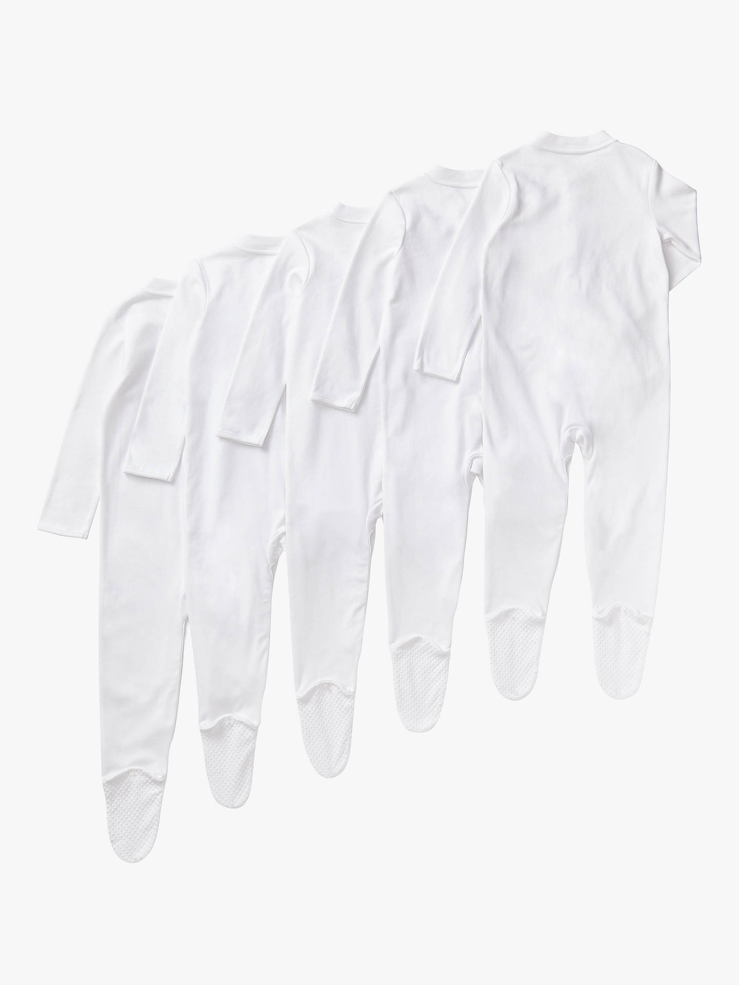 BuyJohn Lewis & Partners Baby Long Sleeve GOTS Organic Cotton Sleepsuit, Pack of 5, White, Early baby Online at johnlewis.com