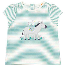 Buy John Lewis Baby Duck and Donkey Applique Striped T-Shirt, Blue/Cream Online at johnlewis.com
