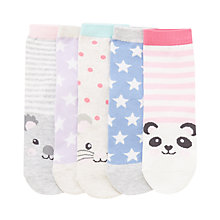 Buy John Lewis Children's Animal Toes Socks, Pack of 5, White/Multi Online at johnlewis.com