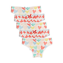 Buy John Lewis Girls' Hipster Floral Spot Print Briefs, Pack of 5, White/Multi Online at johnlewis.com