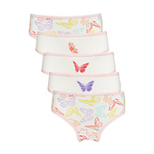 Buy John Lewis Girls' Butterfly Print Briefs, Pack of 5, Pink/Multi Online at johnlewis.com