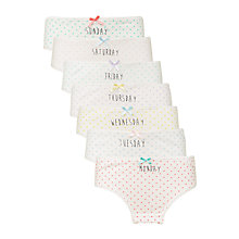Buy John Lewis Girls' Days of the Week Polka Dot Briefs, Pack of 7, Multi Online at johnlewis.com