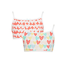 Buy John Lewis Girls' Heart Crop Tops, Pack of 2, Red/Multi Online at johnlewis.com