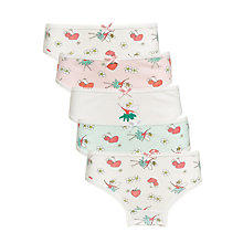 Buy John Lewis Girls' Strawberry Fairy Print Briefs, Pack of 5, Pink/Multi Online at johnlewis.com