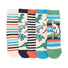 Buy John Lewis Children's Dinosaur Socks, Pack of 5, Orange/Multi Online at johnlewis.com