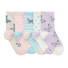 Buy John Lewis Children's Pastel Butterfly Socks, Pack of 5, Lilac/Multi Online at johnlewis.com