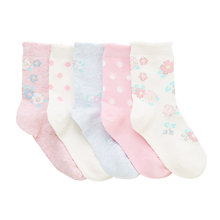 Buy John Lewis Children's Vintage Print Socks, Pack of 5, Pink Online at johnlewis.com