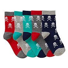 Buy John Lewis Children's Skull Socks, Pack of 5, Grey/Blue Online at johnlewis.com