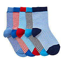 Buy John Lewis Children's Fine Stripe Socks, Pack of 5, Blue/Multi Online at johnlewis.com