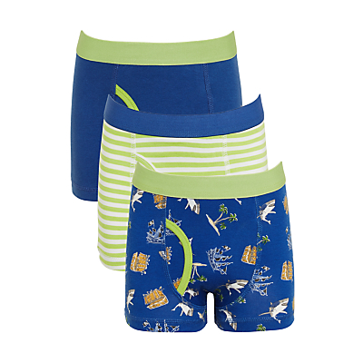 Product photo of John lewis boys shipwreck trunks pack of 3 blue