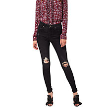 Buy Miss Selfridge Lizzie Busted Knee Jeans, Black Online at johnlewis.com