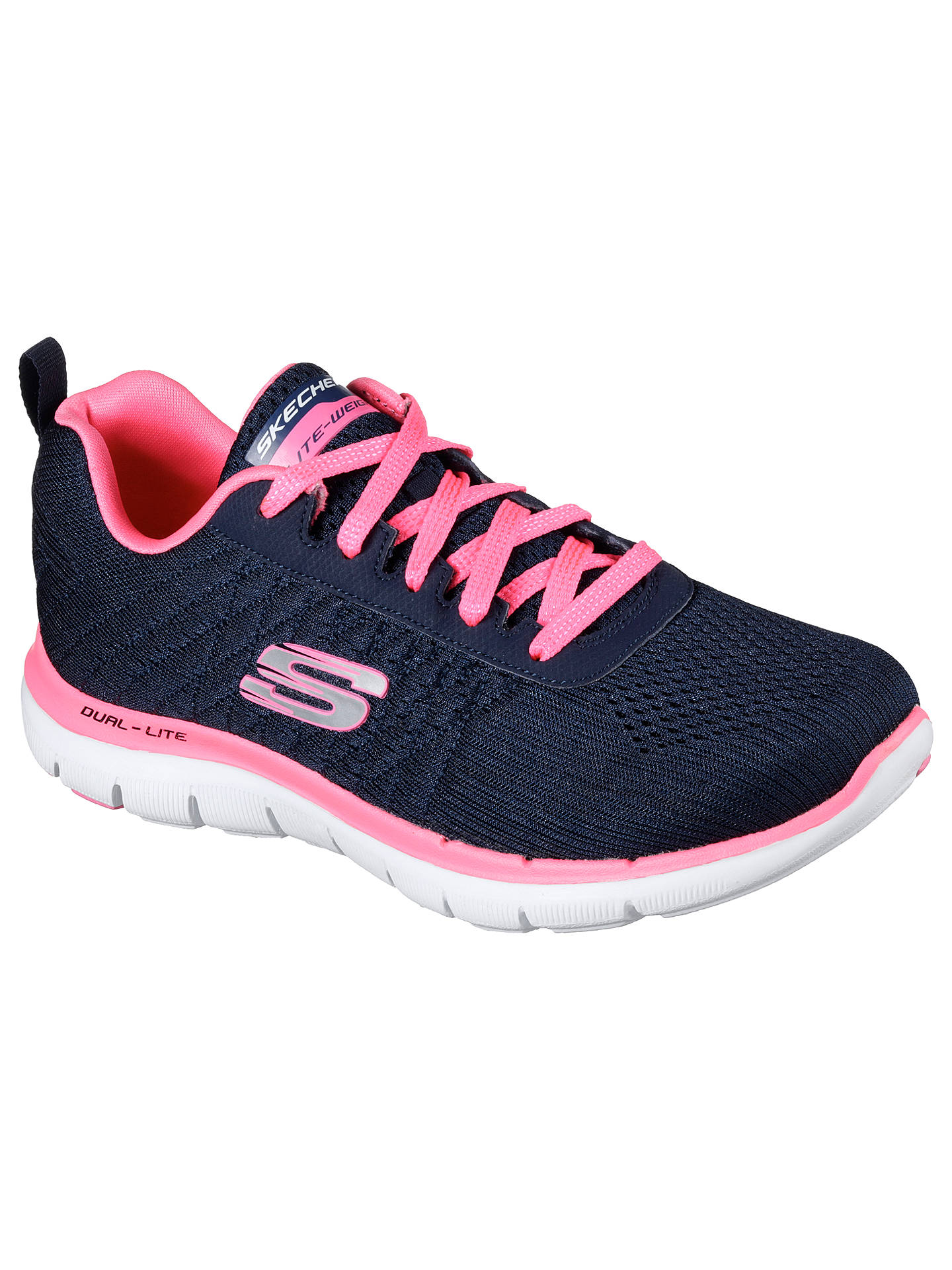 a95d14868e62e Buy Skechers Sport Flex Appeal 2.0 Break Free Trainers, Navy/Pink, 3 Online  ...