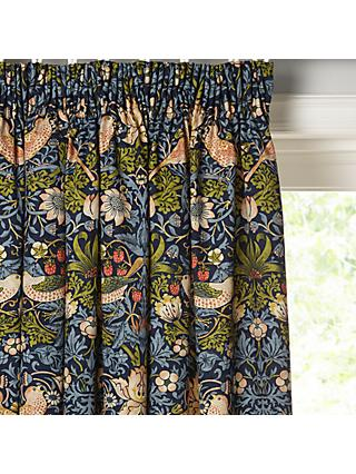 Morris & Co. Strawberry Thief Pair Lined Pencil Pleat Curtains, Indigo