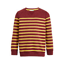 Buy John Lewis Boys' Breton Stripe Sweatshirt, Burgundy/Yellow Online at johnlewis.com