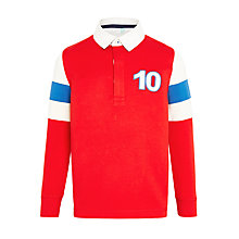 Buy John Lewis Boys' Arm Panel Rugby Top, Red Online at johnlewis.com