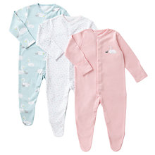 Buy John Lewis Baby GOTS Organic Cotton Swan and Star Print Sleepsuits, Pack of 3, Multi Online at johnlewis.com