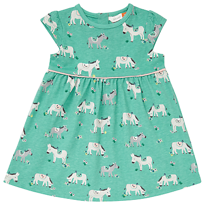 Product photo of John lewis baby donkey print dress green