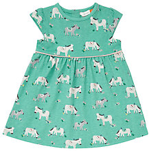 Buy John Lewis Baby Donkey Print Dress, Green Online at johnlewis.com