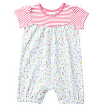 Buy John Lewis Baby Striped Floral Romper Playsuit, Pink/Multi Online at johnlewis.com