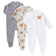 Buy John Lewis Baby Leopard Organic GOTS Cotton Sleepsuit, Pack of 3, Multi Online at johnlewis.com