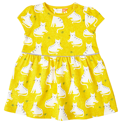 Product photo of John lewis baby cat print dress yellow