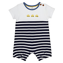 Buy John Lewis Baby Stripe Car Romper Playsuit, Blue/White Online at johnlewis.com