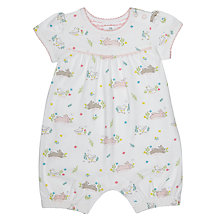 Buy John Lewis Baby Bunny Print Romper Playsuit, White/Pink Online at johnlewis.com