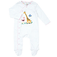Buy John Lewis Baby Giraffe Wildlife Jersey Cotton Sleepsuit, Blue/White Online at johnlewis.com