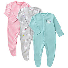 Buy John Lewis Baby Cat Organic GOTS Cotton Sleepsuit, Pack of 3, Multi Online at johnlewis.com