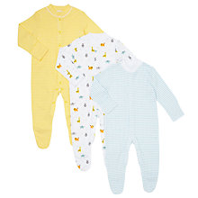 Buy John Lewis Baby Animal Pattern Organic GOTS Cotton Sleepsuit, Pack of 3, Multi Online at johnlewis.com