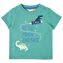 Buy John Lewis Baby 'To the Moon and Back' Dinosaur T-Shirt, Green Online at johnlewis.com