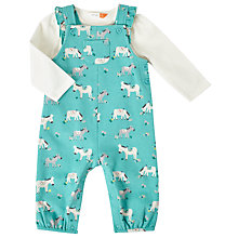 Buy John Lewis Baby Donkey Print Jersey Dungaree and T-Shirt Set, Aqua/White Online at johnlewis.com