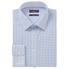 Buy John Lewis Non Iron Gingham Tailored Fit Shirt, Blue Online at johnlewis.com