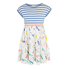 Buy John Lewis Girls' Bird Print Dress, Blue/Cream Online at johnlewis.com