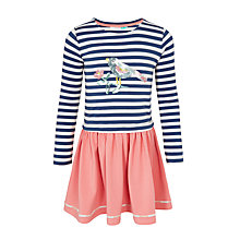 Buy John Lewis Girls' Long Sleeve Bird Applique Dress, Blue/Pink Online at johnlewis.com
