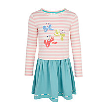 Buy John Lewis Girls' Long Sleeve Butterfly Dress, Pink/Green Online at johnlewis.com