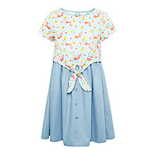 Buy John Lewis Girls' Tie Front Chambray Dress, Blue/Multi Online at johnlewis.com