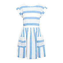 Buy John Lewis Girls' Woven Stripe Dress, Blue Haze Online at johnlewis.com