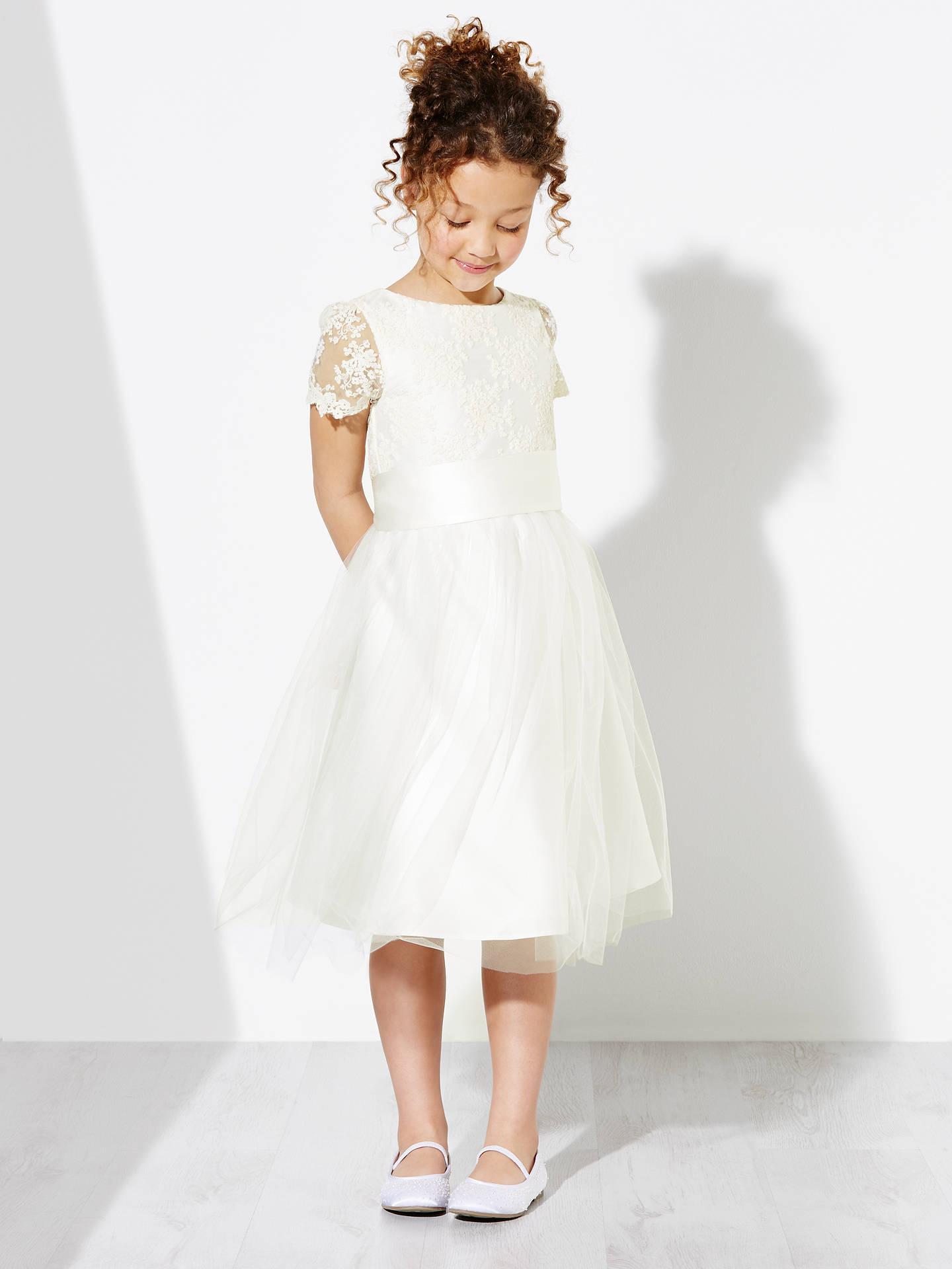 980711027 John Lewis Girls  Floral Lace Bridesmaid Dress
