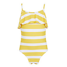 Buy John Lewis Girls' Textured Striped Swimsuit, Yellow/White Online at johnlewis.com