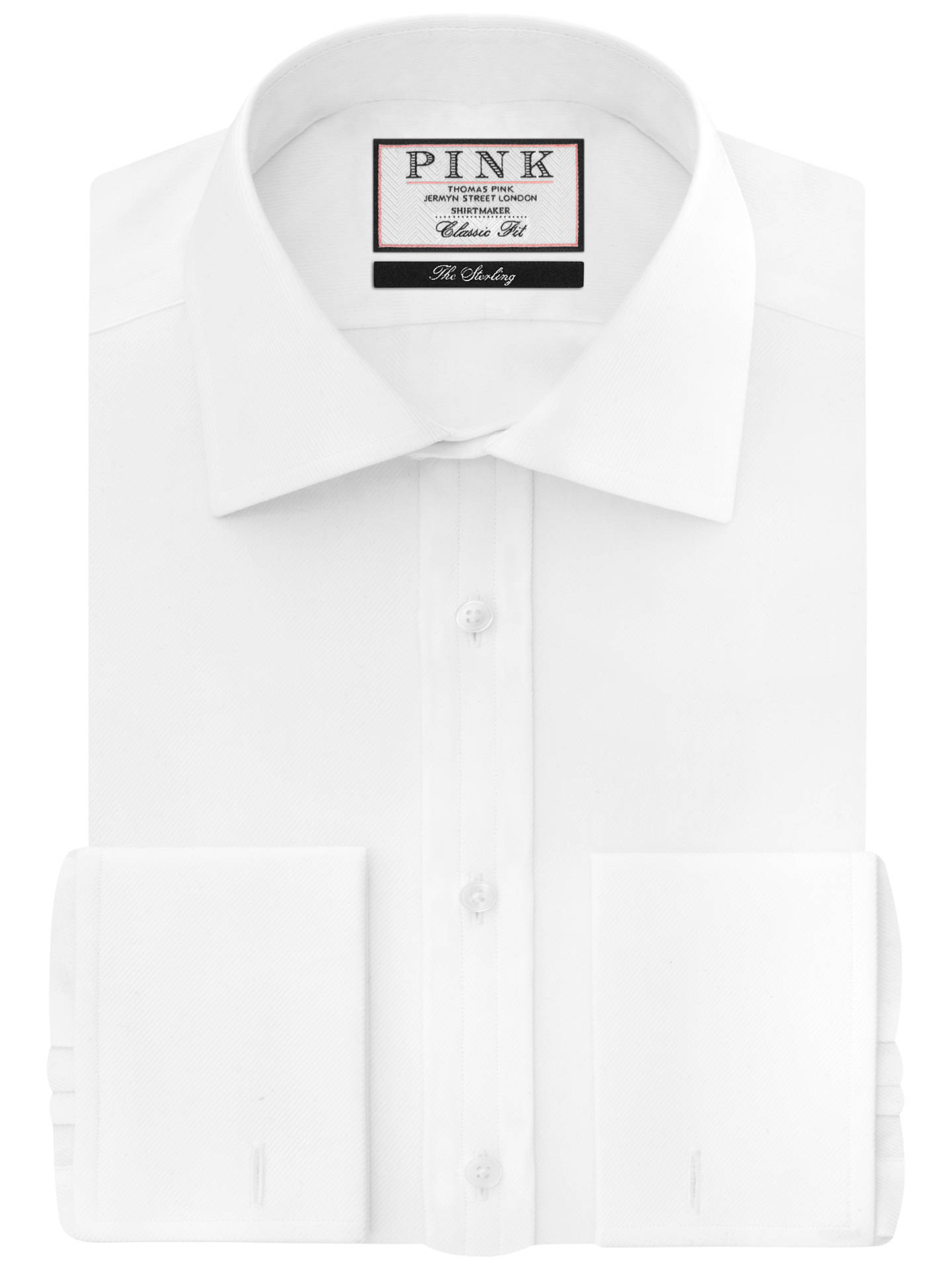 BuyThomas Pink Arthur Plain Classic Fit Double Cuff Shirt, White, 14.5 Online at johnlewis.com