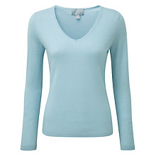 Buy Pure Collection Hampshire Cashmere V Neck Jumper, Duck Egg Online at johnlewis.com