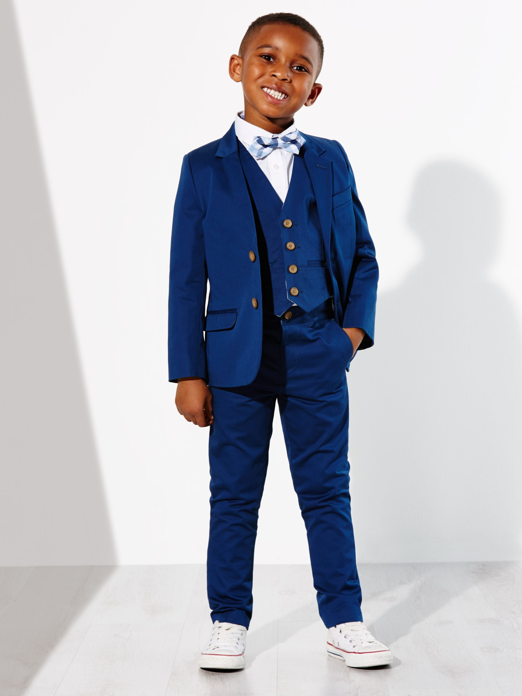 John Lewis Heirloom Collection Boys Cotton Sateen Suit Jacket Blue At John Lewis Partners