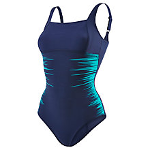 Buy Speedo Sculpture LunaLuxe Placement One Piece Swimsuit, Navy/Green Online at johnlewis.com