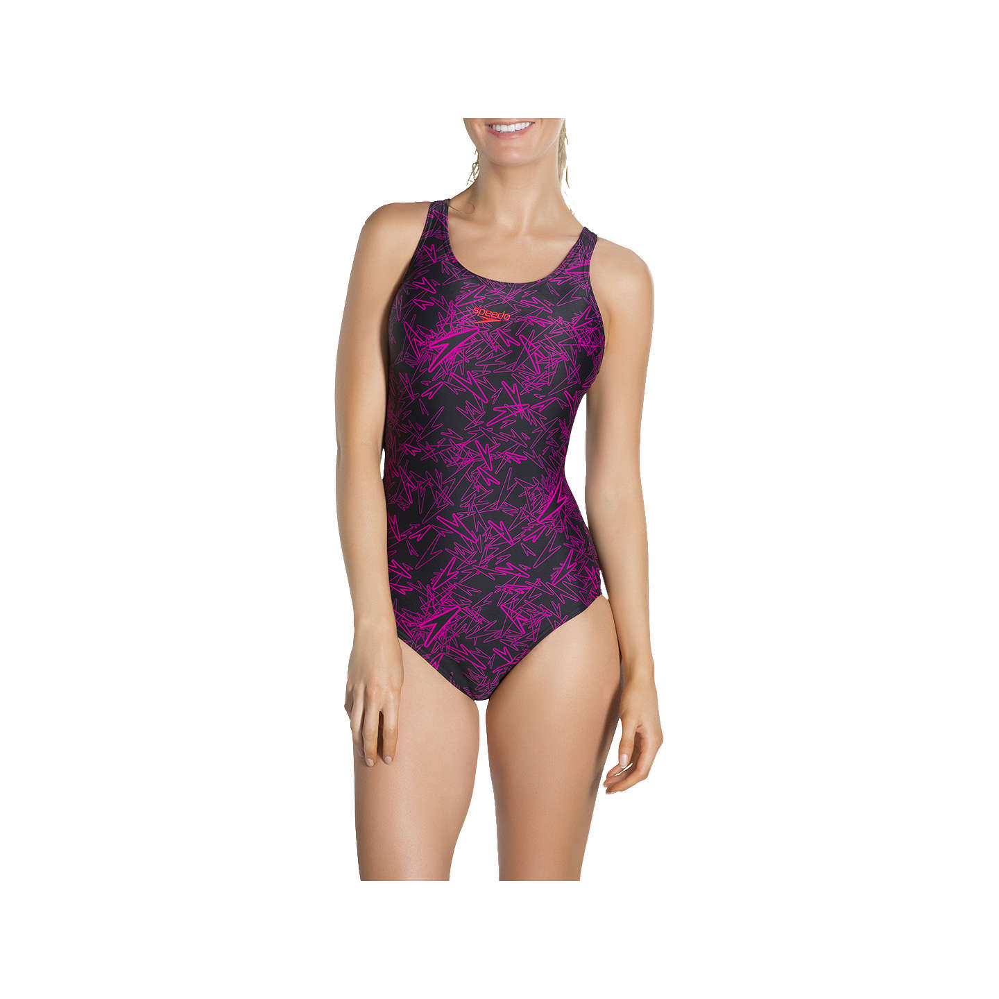 BuySpeedo Boom All-Over Muscleback Swimsuit, Black/Pink, 32 Online at johnlewis.com