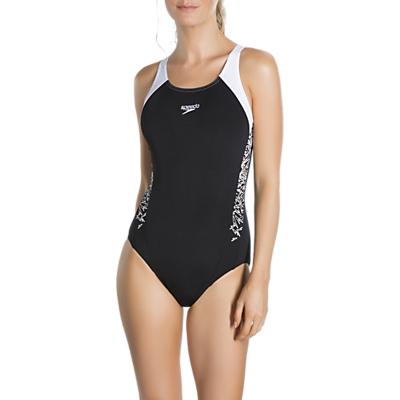 Speedo Boom Splice Muscleback Swimsuit, Black/White