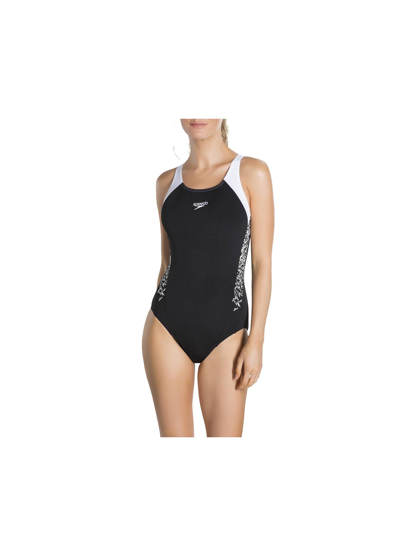 High Quality Buy Speedo Boom Splice Muscleback Swimsuit, Black/White, 32 Online At  Johnlewis.
