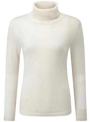 Pure Collection Carolina Cashmere Roll Neck Jumper, Soft White