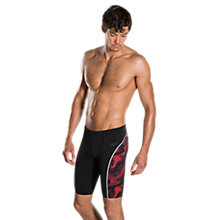 Buy Speedo Fit Graphic Jammer Swimming Shorts, Black/Red Online at johnlewis.com