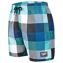 "Buy Speedo Check Print Leisure 16"" Watershorts, Green/Black Online at johnlewis.com"